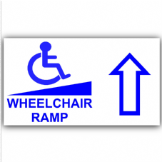 1 x Wheelchair Ramp-Up-Self Adhesive Vinyl Sticker-Disabled,Disability,Wheelchair Sign
